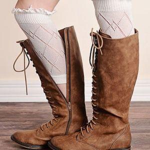 Women's Lace Button Trim Leg Warmers